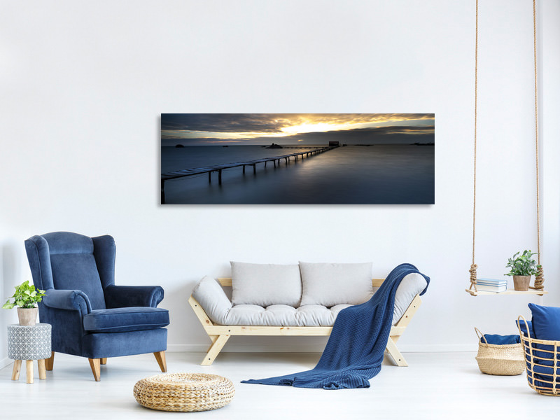 Panoramic Canvas Print Evening mood on the long jetty
