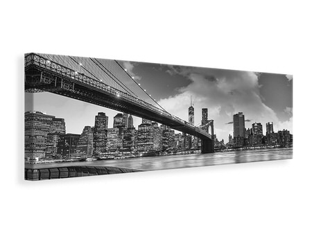 Canvasfoto panaoramaformaat Skyline Black And White Photography Brooklyn Bridge NY