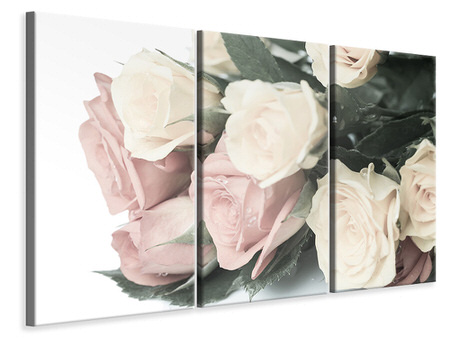 3 Piece Canvas Print Romantic Rose