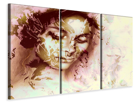3 Piece Canvas Print Romantic Portrait Of A Beauty