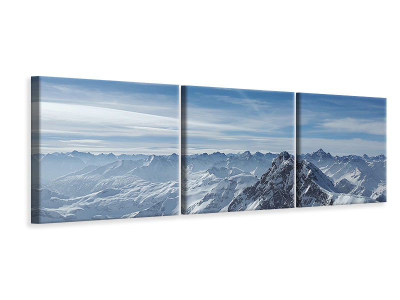 Panoramic 3 Piece Canvas Print Over the peaks