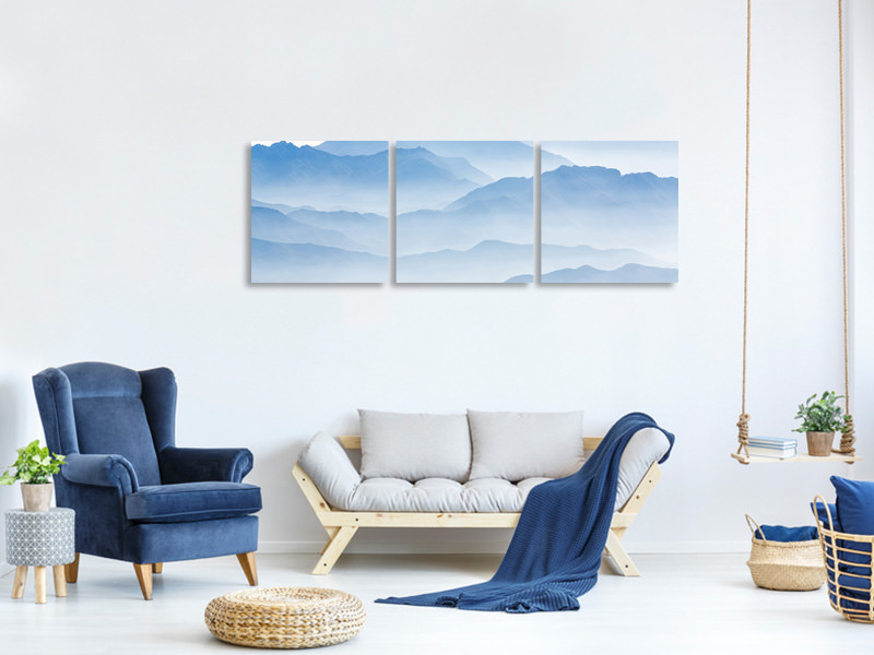 Panoramic 3 Piece Canvas Print Misty Mountains