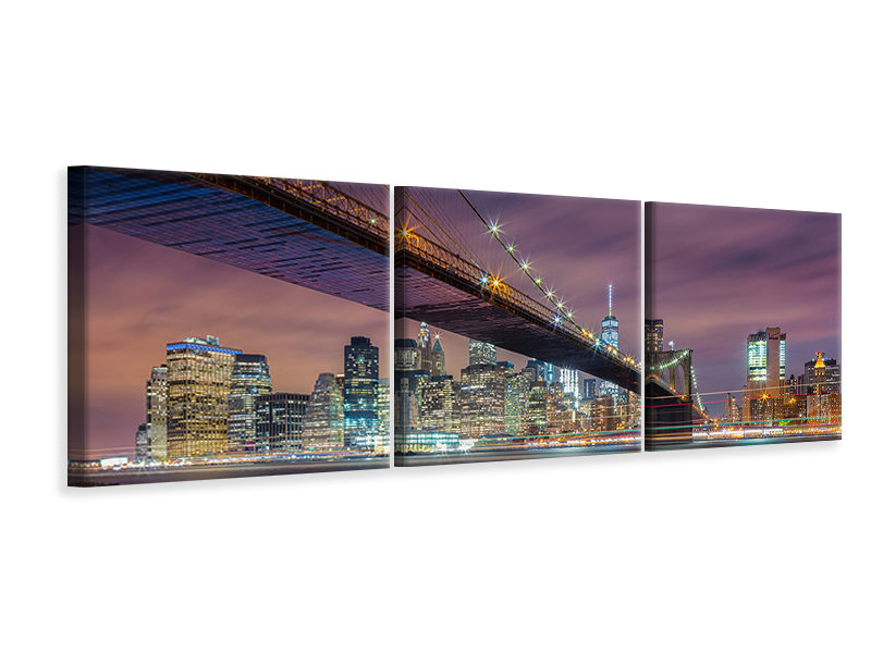 Panorama Leinwandbild 3-teilig Brooklyn Bridge At Night