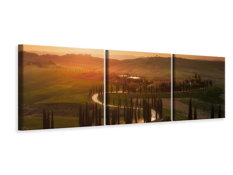 Panoramic 3 Piece Canvas Print Tuscany Evening