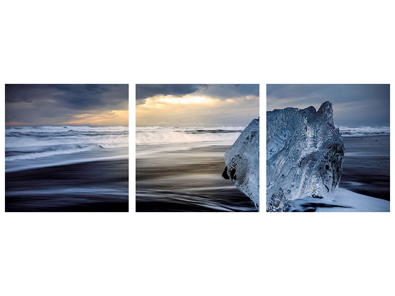 Panoramic Canvasfoto 3-delig Sunrise Between Ice