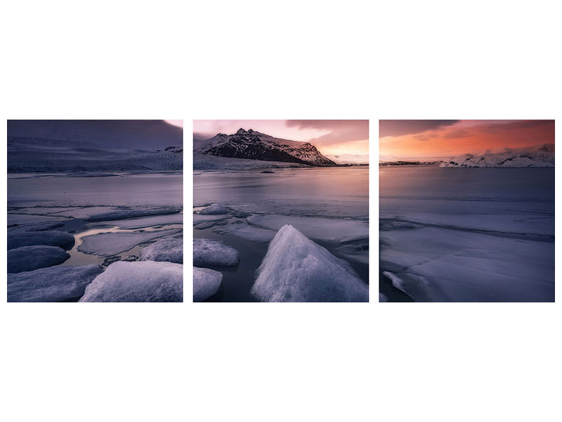 Panoramic Canvasfoto 3-delig Last Lights On Fjallsarlon