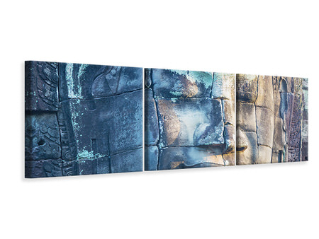 Panoramic 3 Piece Canvas Print Buddha in Rock