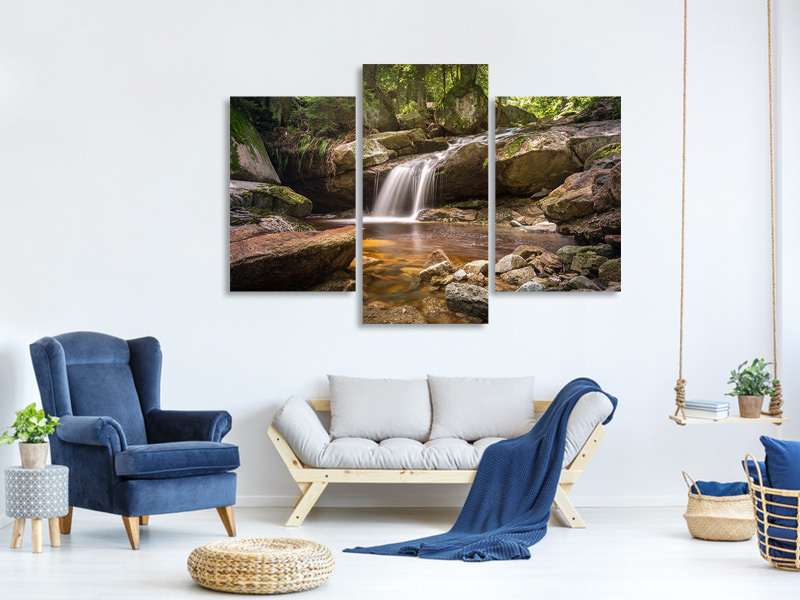 Canvasfoto 3-delig modern Little waterfall
