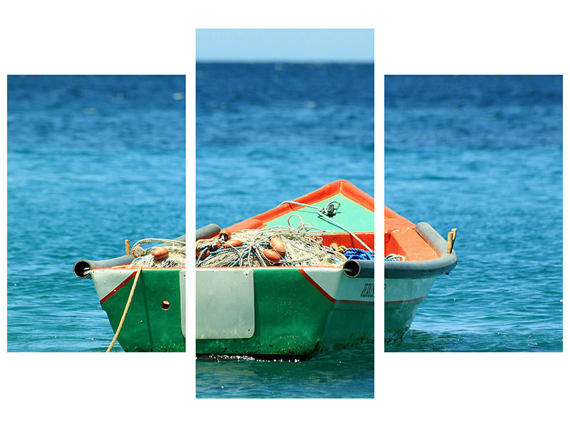 Canvasfoto 3-delig modern A fishing boat