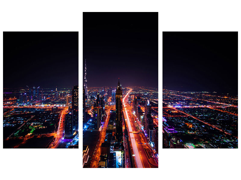 Modern 3 Piece Canvas Print The colorful lights of Dubai