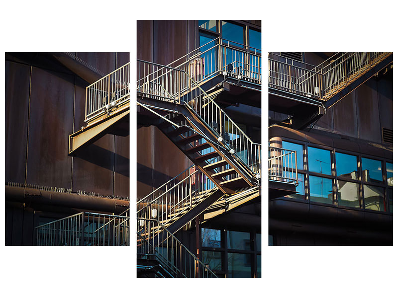 Canvasfoto 3-delig modern Outside stairs