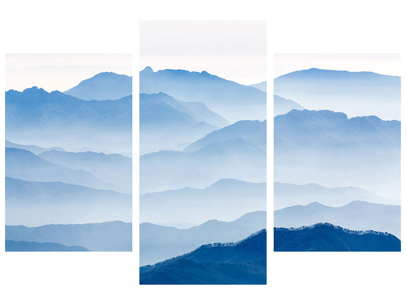 Modern 3 Piece Canvas Print Misty Mountains