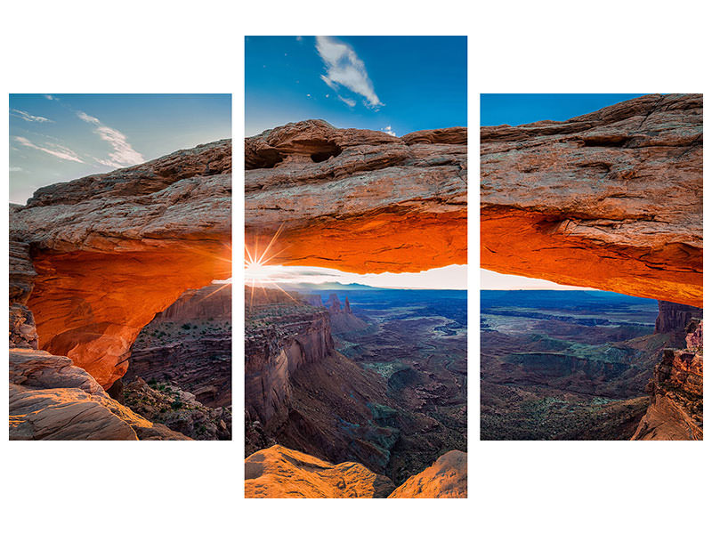 Canvasfoto 3-delig modern Sunrise At Mesa Arch