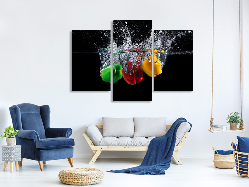 Modern 3 Piece Canvas Print Paprika Splash