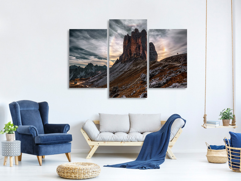 Modern 3 Piece Canvas Print Men And Nature