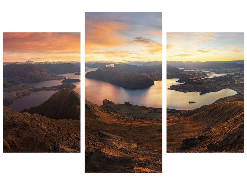 Modern 3 Piece Canvas Print Roys Peak - Panorama View