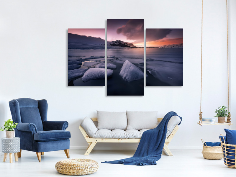 Modern 3 Piece Canvas Print Last Lights On Fjallsarlon