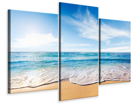 Modern 3 Piece Canvas Print Waves In The Sand