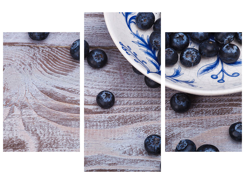 Canvasfoto 3-delig modern Blueberries