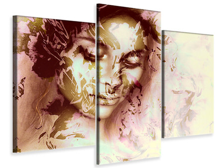 Modern 3 Piece Canvas Print Romantic Portrait Of A Beauty