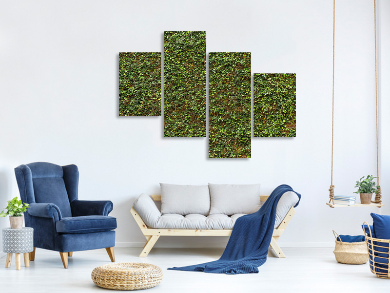 Modern 4 Piece Canvas Print Green Ivy Leaves Wall