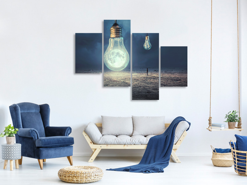 Canvasfoto 4-delig modern Moon Lamp