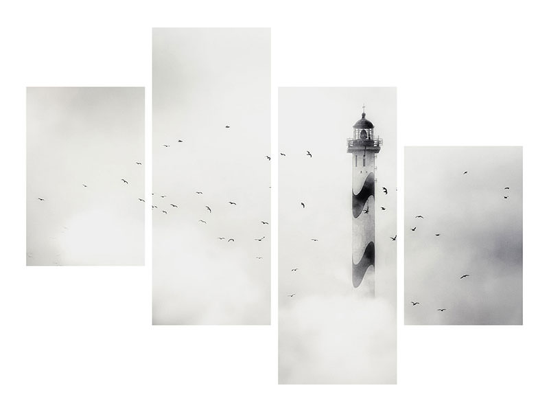 Modern 4 Piece Canvas Print The Fog