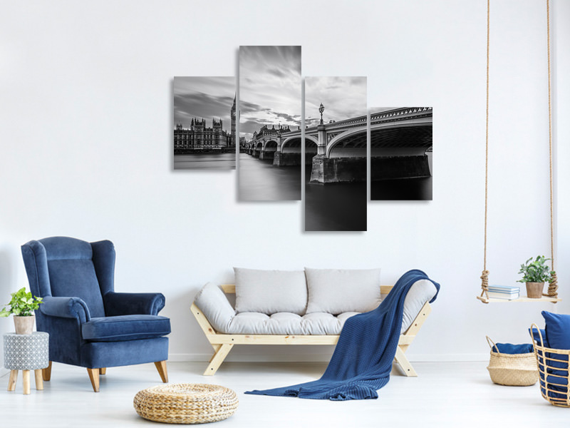 Modern 4 Piece Canvas Print Westminster Serenity