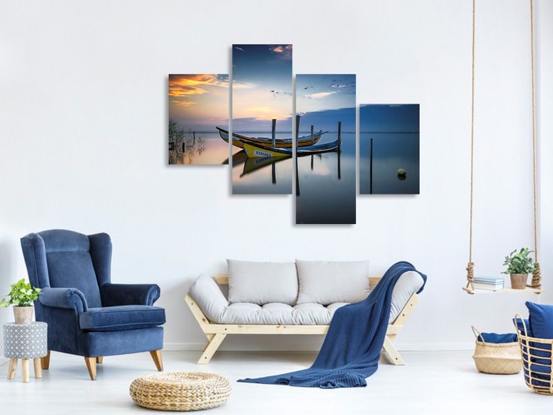 Modern 4 Piece Canvas Print The Boats