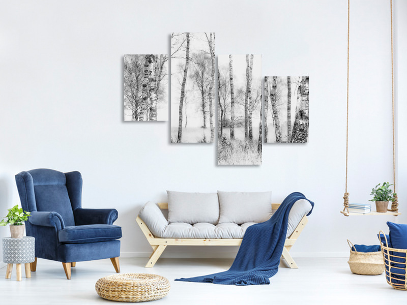 Modern 4 Piece Canvas Print Black And White