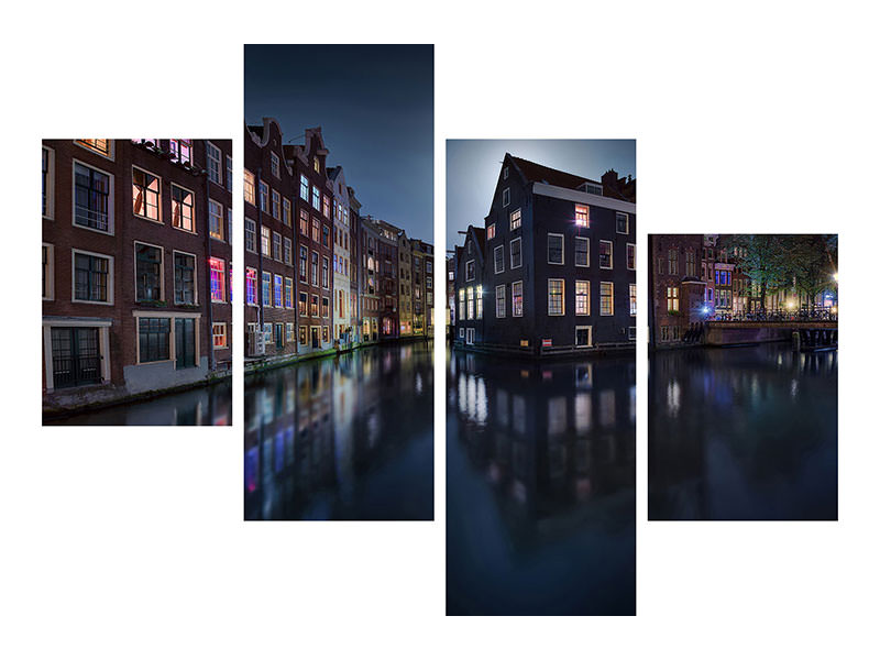 Canvasfoto 4-delig modern Moonlight Over Amsterdam