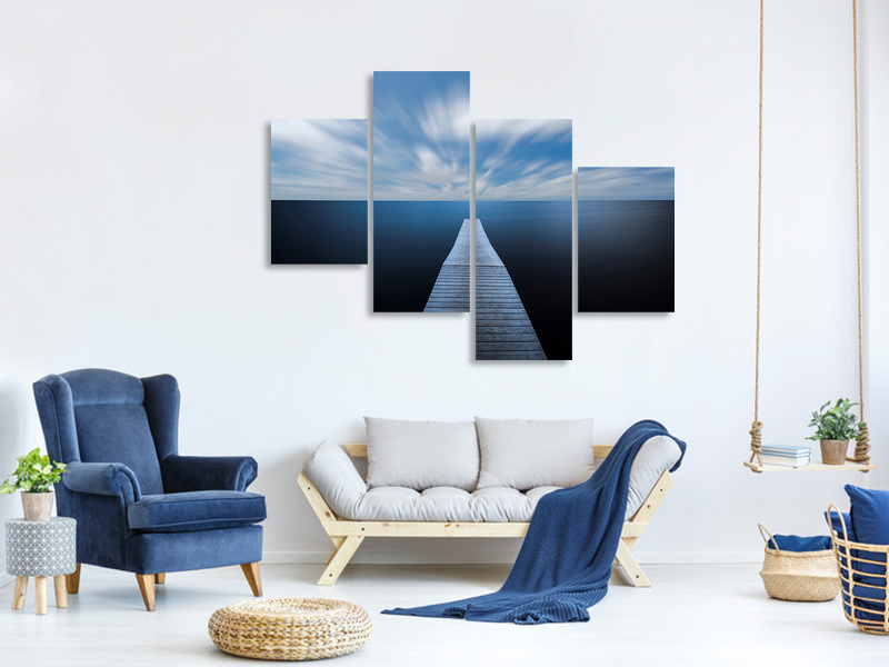 Tableau sur Toile en 4 parties moderne On The Edge Of The World