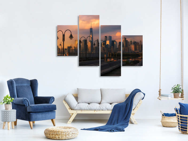 Modern 4 Piece Canvas Print Old Nyc