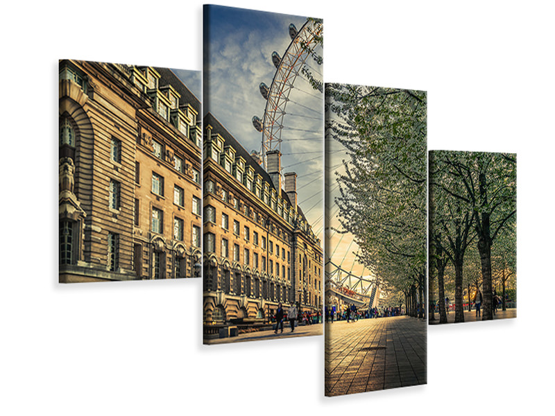 Modern 4 Piece Canvas Print Last Daylights At The London Eye