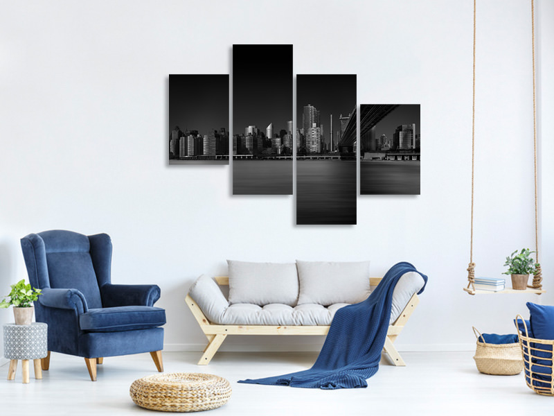 Modern 4 Piece Canvas Print East Side