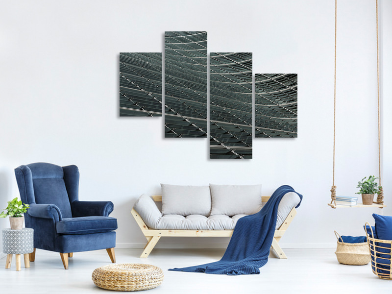 Canvasfoto 4-delig modern Wavy Lines