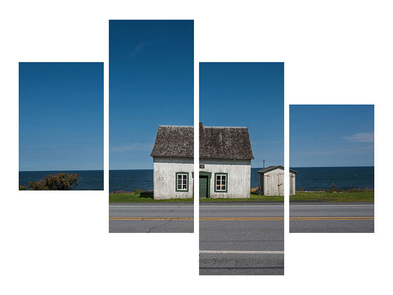 Modern 4 Piece Canvas Print House On The Road