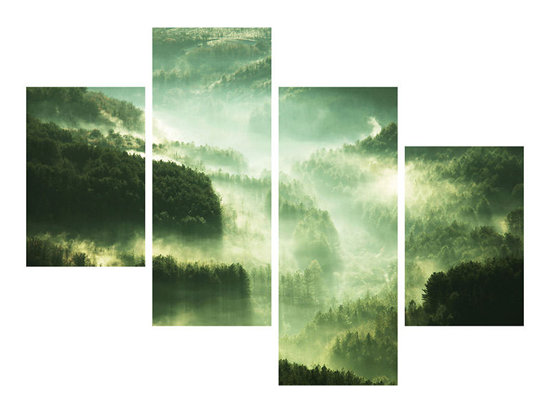Modern 4 Piece Canvas Print Over The Woods