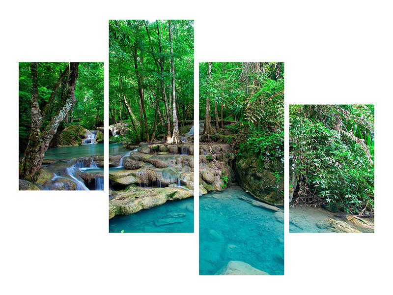 Modern 4 Piece Canvas Print At The Foot Of Erawan