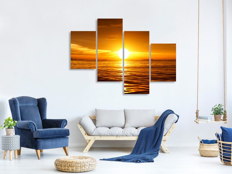 Modern 4 Piece Canvas Print Glowing Sunset On The Water