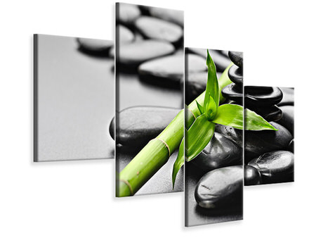Modern 4 Piece Canvas Print Polished Stones