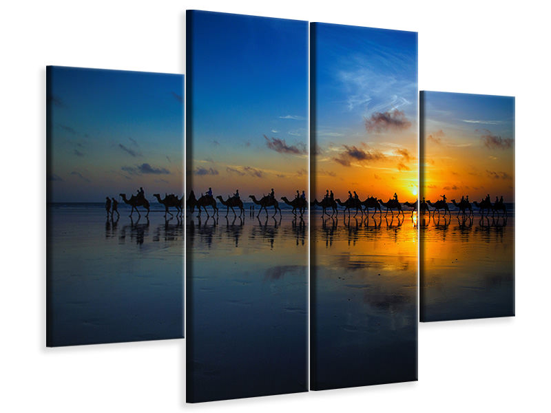 4 Piece Canvas Print Sunset Camel Ride
