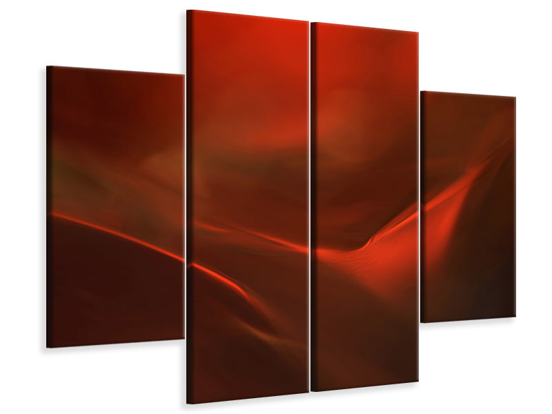 4 Piece Canvas Print The Red Valley