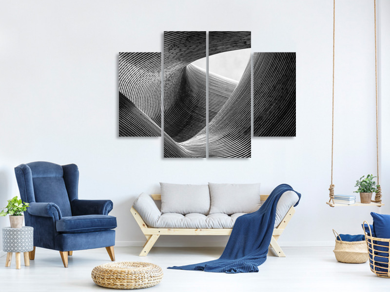 4 Piece Canvas Print Lines II
