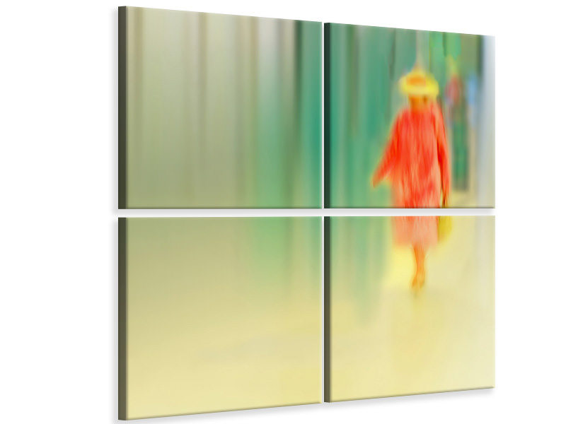 4 Piece Canvas Print Dame In Rot