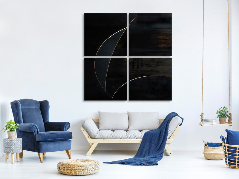 4 Piece Canvas Print Blue Moon