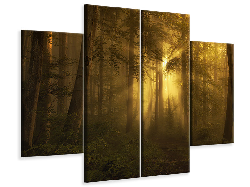 4 Piece Canvas Print Yellow - The Bigger Picture