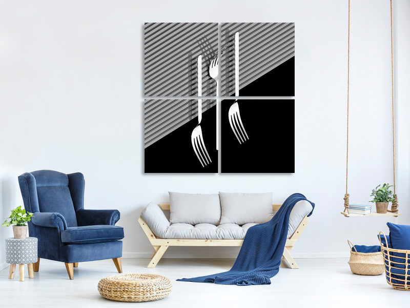 4 Piece Canvas Print Fork A
