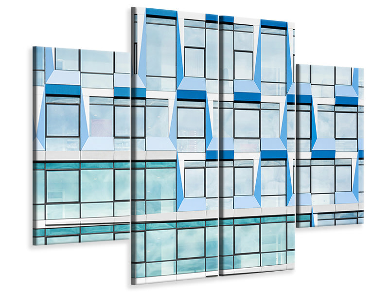 Tableau sur Toile en 4 parties Blue Multiple Windows