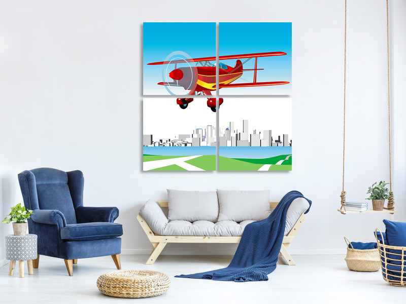 Canvasfoto 4-delig Flying Aircraft